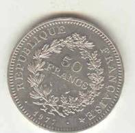 Monnaie 50h Argent 1977 Hercule - France