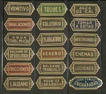 PHARMACIE - FARMACIA - PHARMACY - OLD LOT OF 18 GUMMED LABELS - Etiquetas