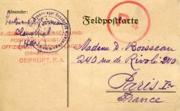 VOIR ! CP CENSURE KOMMANDANTUR 1916 CLAUSTHAL OSNABRUCK OFLAG PRISONNIERS THEMES ALLEMAGNE MILITARIA STALAG GUERRES WW1 - Poststempel (Briefe)