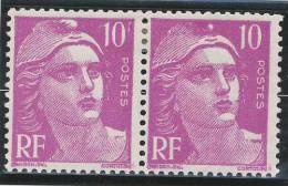 10f Lilas. Paire Gandon. Sans Le F Après  Sur Timbre De Droite. Légère Traces De Charnière - 1945-54 Marianna Di Gandon