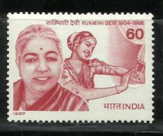 INDIA, 1987, Rukmini Devi, (1904-1986), Dancer, Choreographer, MNH, (**) - India