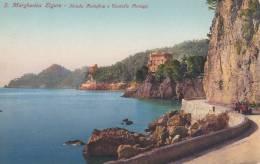 SANTA MARGHERITA LIGURE  - GENOVA - STRADA PORTOFINO E CASTELLO PARAGGI  BELLA FOTO D´EPOCA ORIGINALE 100% - Genova (Genoa)