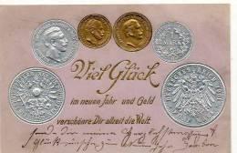 ALLEMAGNE - PIECE DE MONNAIE  - CARTE GAUFFREE  VIEL GLÜCK 1 MARCK - Monnaies (représentations)