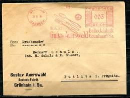 "German Empires,DR 1934 Postal Cover /Bedarfsbrief Mit Roten Freistempler""Gustav Auerwald,Besteckfabrik""1 Beleg ,used - Alemania"