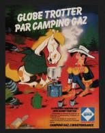 Pub Papier 1979 Camping GAZ D´apres Morris Et Goscinny Lucky Luke Cheval Jolly Jumper Globe Trotter Réchaud - Advertising