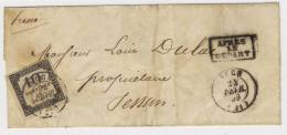 Timbre-Taxe Sur Lettre 1859 N° 1 - Taxes