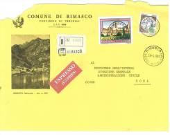 RIMASCO  13026  PROV. VERCELLI   ANNO 1981 -  R  FTO18X24 - STORIA POSTALE DEI COMUNI D´ITALIA - POSTAL HISTORY - Affrancature Meccaniche Rosse (EMA)