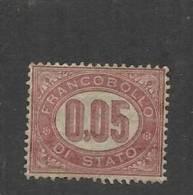 ITALIA REGNO 1875 SERVIZI CIFRE CENT.5 MNH BEN CENTRATO - Servizi