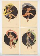 Illustratore D. Gobbi 4 Cartoline  DANSEUSE ART DECO - Illustratori & Fotografie