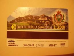 Télécarte Saint Marin . San Marino  Mondial De Foot France 1998 . Mondial Di Calcio .vue De San Marin & Blason - Saint-Marin