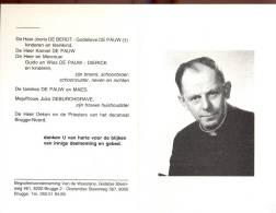 Doodsprentje Priester Marcel De Pauw - Blankenberge 1912 - Damme Sijsele 1990 - Obituary Notices