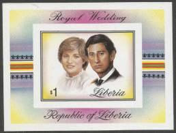 Liberia. 1981 Royal Wedding. MNH $1 Imperforate Miniature Sheet - Liberia