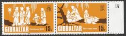 Gibraltar. 1980 Christmas. Mint Never Hinged Se-tenant Pair - Gibraltar