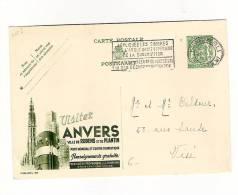 Publibel Obl. N° 305 Verte (Visitez ANVERS  Ville De Rubens Et De Plantin) Obl:  Bruxelles 29/10/1938