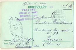 1p980: S.M. Interné Belge  BRIEFKAART: PORTVRIJ: HARDERWIJK 21.III.18 > ROUEN + Censuur - Postal Stationery