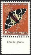 """Suisse PJ 1955: Yvert-No.570 ** MNH Avec Tab *Ecaille Jaune""""  (SBK CHF 17.00) - Vlinders"""