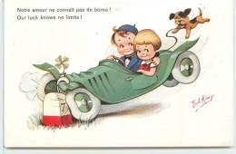 ENFANTS EN VOITURE  - Notre Amour Ne Connait Pas De Borne!(carte Illustrée Par Bob King). - Cartes Humoristiques