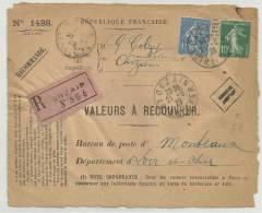 1929 - DEVANT LETTRE RECOMMANDEE De ONZAIN (LOIR ET CHER) - SEMEUSE - Storia Postale