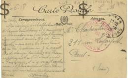 Cachet Hopital Auxiliaire DINAN 1918 S CP De DINAN (il S´agit De HA19 St Charles) - Marcophilie (Lettres)