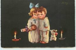 COUPLE D´ENFANTS EN PYJAMA (poupée Petit Chien). - Cartes Humoristiques