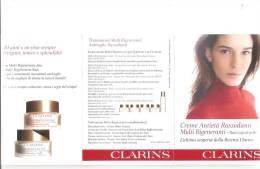 PIEGHEVOLE PUBBLICITARIO CON CAMPIONCINI - CLARINS - JOUR NUIT MULTI RIGENERANTE - MADE IN FRANCE - Materiale Di Profumeria