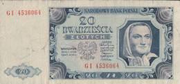 Billet Pologne 20 Zlotych 1948 GI - Pologne