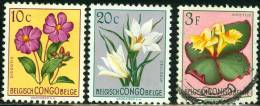 BELGIAN CONGO, CONGO BELGA, 1952, MULTICOLORED FLOWERS, FRANCOBOLLI NUOVI E USATI, YT 302,304,314 - Belgian Congo