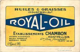 Themes Divers - Publicité -ref D974- Petit Carton -huiles Et Graisses Industrielles -royal Oil -ets Chambon A Montpelli- - Reclame