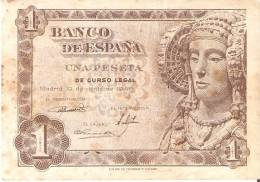BILLETE DE ESPAÑA DE 1 PTA DEL AÑO 1948 SERIE H - DAMA DE ELCHE  (BANKNOTE) - 1-2 Pesetas