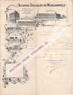 Lettre Superbement Illustrée De 1901 - OEUVRES SOCIALES DE MORLANWELZ - Cercle D´escrime, Le Bon Grain, Ecole Des Filles - Belgique