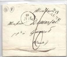 LETTRE CACHET TIMBRE 1828 N° 20 BEAUNE 21 Cote D'or De Villot Rabellin  Adr A GUERRET 23 Creuse Mr DEMARJAC - Non Classés