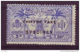 NOUVELLES HEBRIDES 50 CTS/5 D CHIFFRE TAXE YT #2 SPECIMEN - Ongebruikt