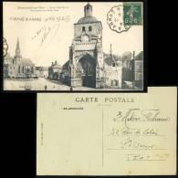 1919 - CAD CONVOYEUR-LIGNE ETAPLES À ARRAS (n°376 T.III-R) SUR CPA DE MONTREUIL-SUR-MER POUR St-OMER - Railway Post