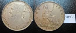 Inghilterra , UK , Inglaterra , 1 Centesimi 1891, 1 Penny - Monedas