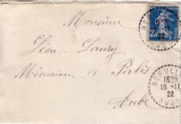 AUBE-BERULLES DU 28-11-1922 - SUR 25c SEMEUSE. - Manual Postmarks