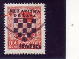COAT OF ARMS--0-50 DIN-OVERPRINT-NDH-ERROR-RARE-CROATIA-1941 - Croatia