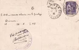 """Cachet """"AÉRODROME DE DINAN BEL-AIR Le Chef De Piste CÔTES DU NORD"""" ESCADRE DE CHASSE Sur CP Avec PAIX 55c - Marcophilie (Lettres)"""
