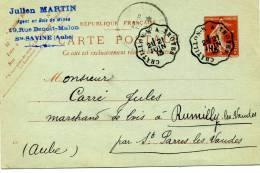 Ambulant Convoyeur Ligne Aube  Chatillon S/s à Troyes Type 1 Ou 2 1913 Entier Postal CP Précurseur Date 125 - Spoorwegpost