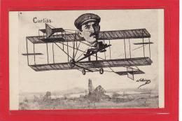TRANSPORT / AVIATION / ILLUSTRATEURS / Curtiss Sur Son Biplan Illustré Par Labiringue - Aviatori