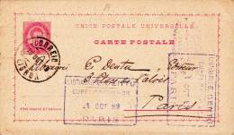 PORTUGAL - 1889 - CARTE ENTIER POSTAL De LISBONNE Pour PARIS