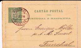 PORTUGAL : FUNCHAL - 1896 - CARTE-LETTRE ENTIER POSTAL De FUNCHAL (MADEIRA) - Funchal