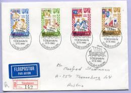 FDC Einschreibebrief Färöer Foroyar Harra Paetur Og Elingborg 1982 (280) - Färöer Inseln