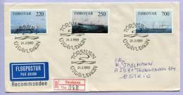 FDC Einschreibebrief Färöer Foroyar Dampfschiffe Steamships 1983 (281) - Färöer Inseln