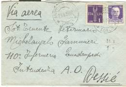 STORIA POSTALE, LETTERA  £.1,50 VIA AEREA P.M., 1936, PER  DESSIE  AFRICA ORIENTALE,  FORLI - DESSIE A.O., - 1900-44 Victor Emmanuel III.