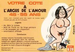 CPSM COTE ARGUS DE L AMOUR  HUMOUR 45 55 ANS DESSIN ALEXANDRE FEMME NUE - Humor