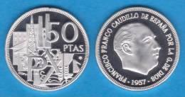 """ESPAÑA  /  ESTADO ESPAÑOL  / FRANCO 50 PESETAS 1.957 # 64 PROOF SC/UNC """"25 AÑOS DE LA PAZ"""" DL-10.076 - [5] 1949-…: Monarchie"""