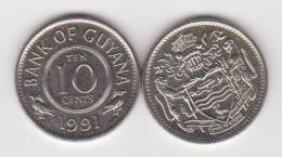 GUYANA  10 CENTIMOS  1.991  CU NI   KM#33  SC/UNC   T-DL-10.201 - Monedas