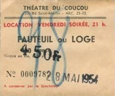 THEATRE DU COUCOU, Paris -  Ticket De Fauteuil Ou Loge - 1954 - Tickets - Vouchers
