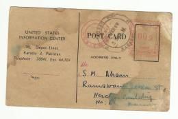 Pakistan Used  Metermark Post Card 1959