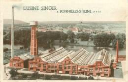 78 BONNIERES SUR SEINE USINE SINGER VOIR VERSO REPRESENTANT A REIMS - Bonnieres Sur Seine
